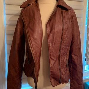 Brown Leather Jacket by Guess